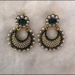 Bollywood Indian Earrings with Faux Pearl